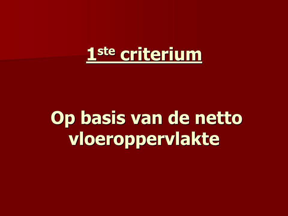 1ste criterium Op basis van de netto vloeroppervlakte