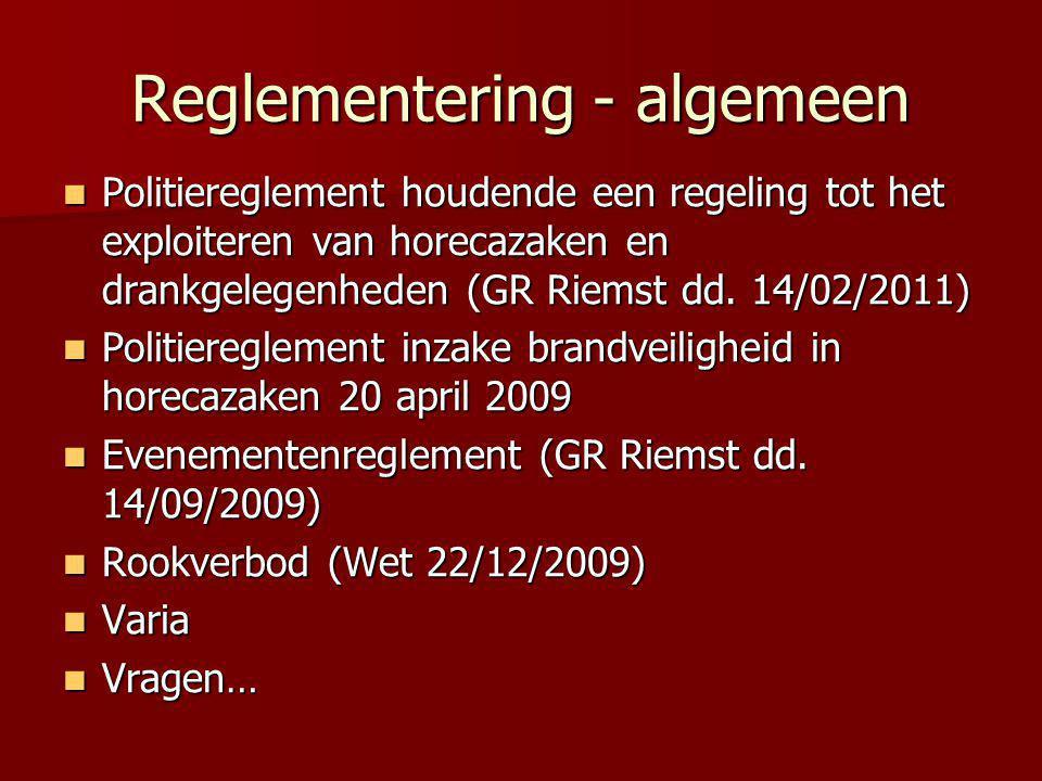 Reglementering - algemeen