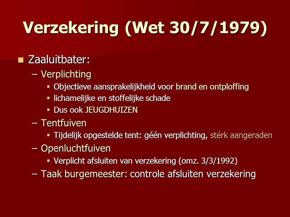 Verzekering (Wet 30/7/1979) Zaaluitbater: Verplichting Tentfuiven