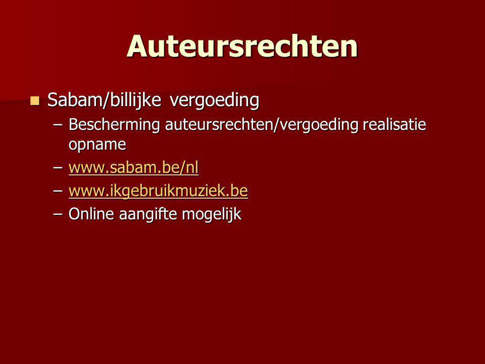 Auteursrechten Sabam/billijke vergoeding