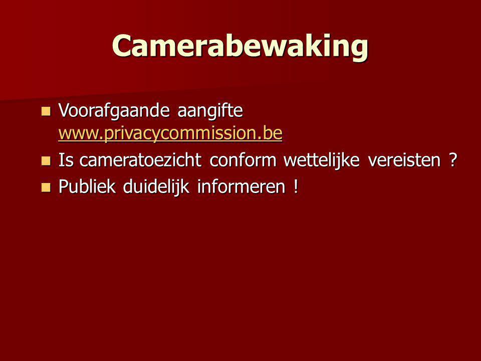 Camerabewaking Voorafgaande aangifte www.privacycommission.be