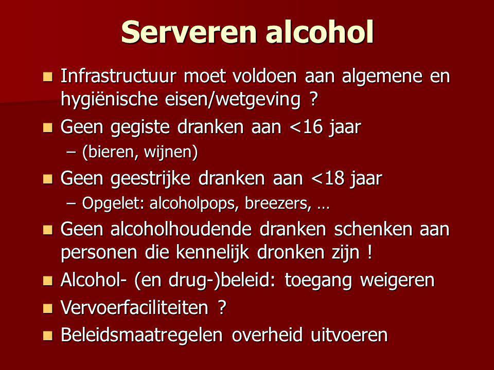 Serveren alcohol Infrastructuur moet voldoen aan algemene en hygiënische eisen/wetgeving Geen gegiste dranken aan <16 jaar.