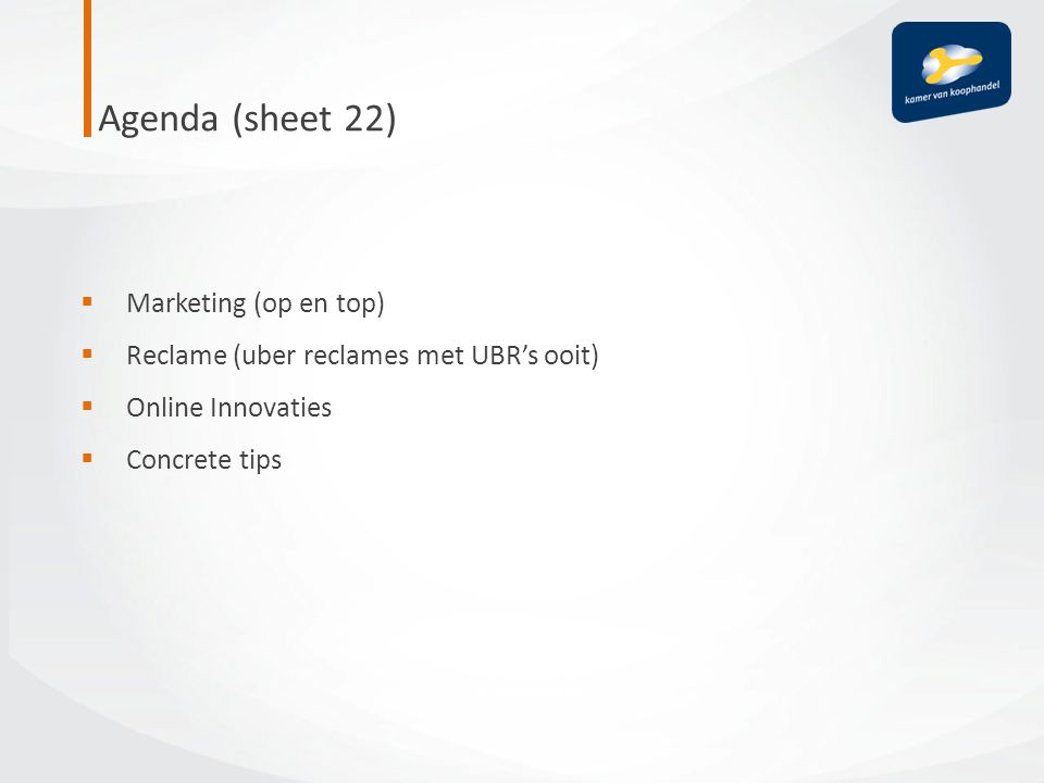 Agenda (sheet 22) Marketing (op en top)