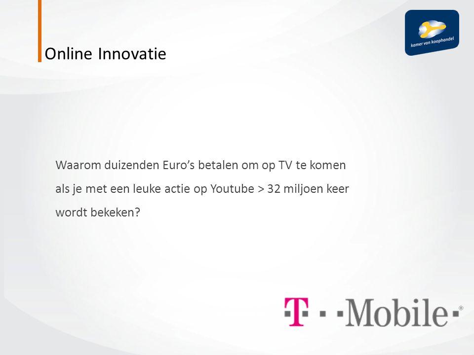 Online Innovatie Waarom duizenden Euro's betalen om op TV te komen als je met een leuke actie op Youtube > 32 miljoen keer wordt bekeken