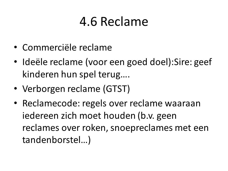 4.6 Reclame Commerciële reclame
