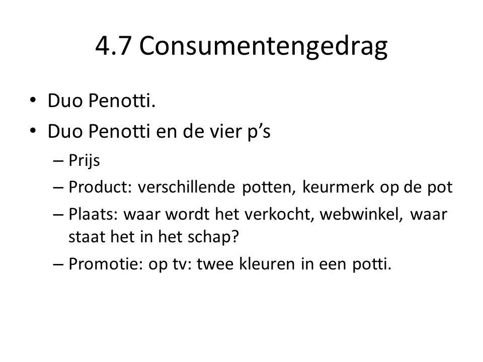 4.7 Consumentengedrag Duo Penotti. Duo Penotti en de vier p's Prijs