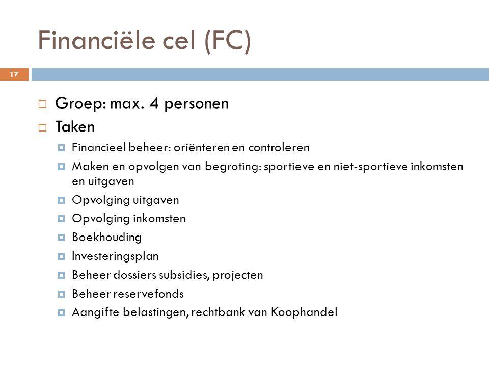 Financiële cel (FC) Groep: max. 4 personen Taken