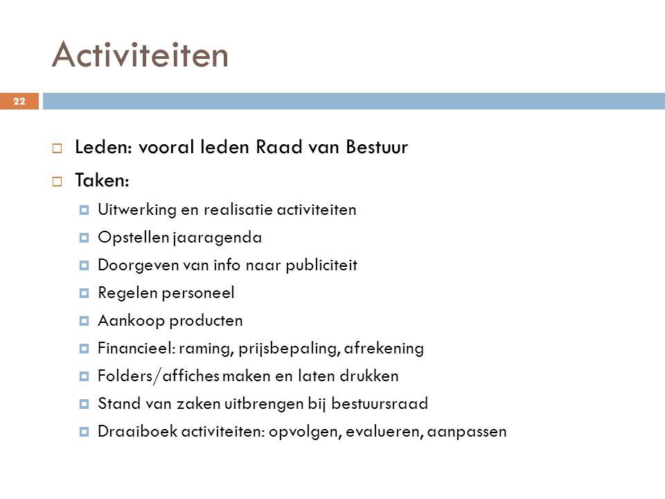 Activiteiten Leden: vooral leden Raad van Bestuur Taken: