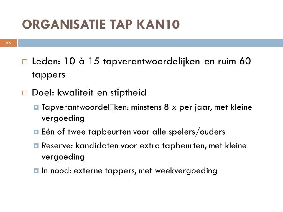 ORGANISATIE TAP KAN10 Leden: 10 à 15 tapverantwoordelijken en ruim 60 tappers. Doel: kwaliteit en stiptheid.