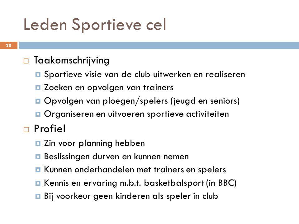 Leden Sportieve cel Profiel Taakomschrijving