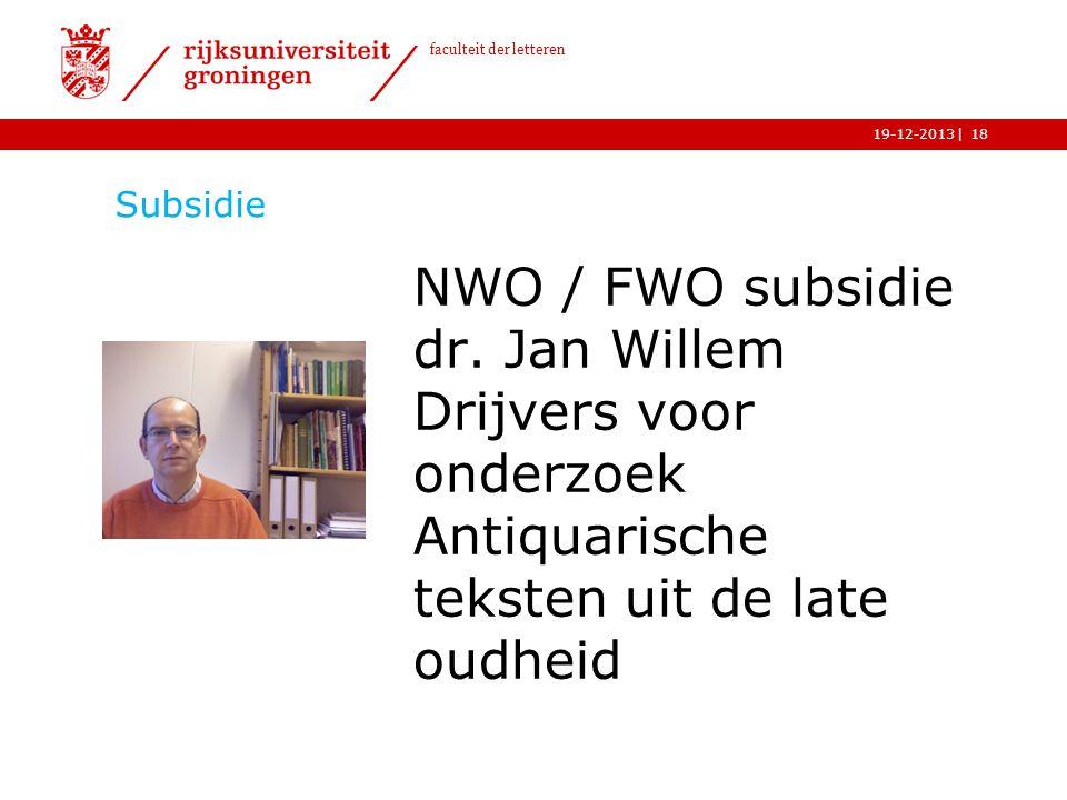 Subsidie NWO / FWO subsidie dr.