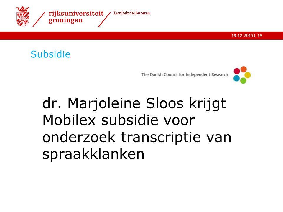 Subsidie dr. Marjoleine Sloos krijgt Mobilex subsidie voor onderzoek transcriptie van spraakklanken