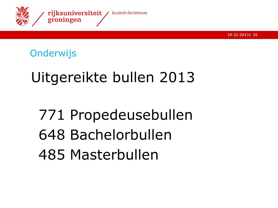 Uitgereikte bullen 2013 771 Propedeusebullen 648 Bachelorbullen