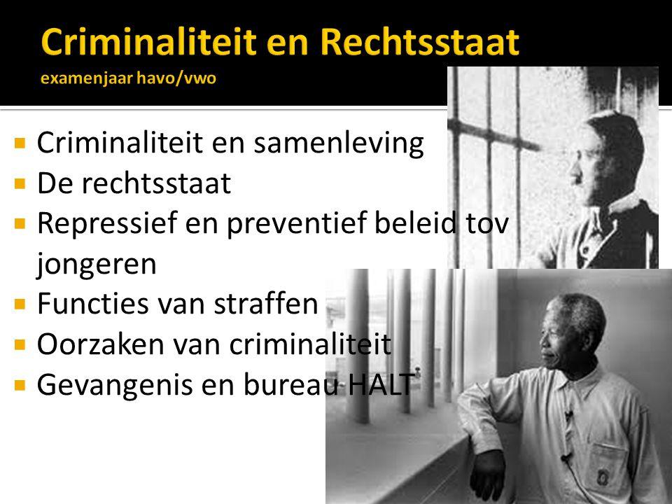 Criminaliteit en Rechtsstaat examenjaar havo/vwo