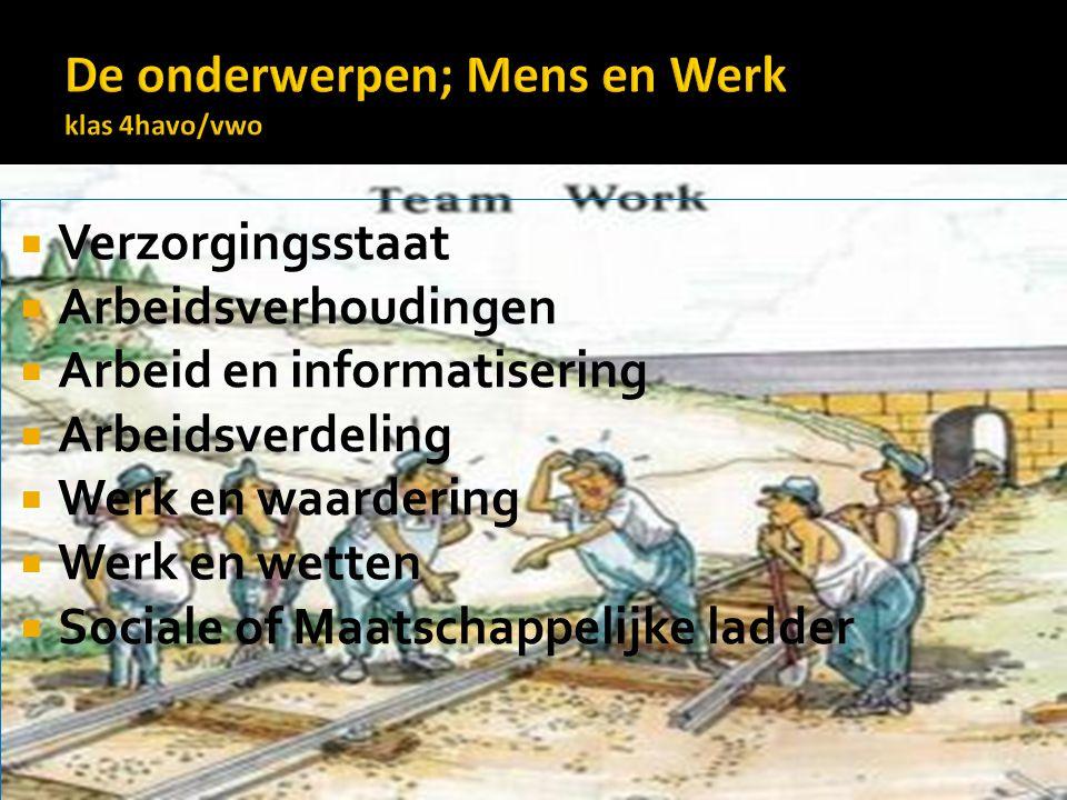 De onderwerpen; Mens en Werk klas 4havo/vwo