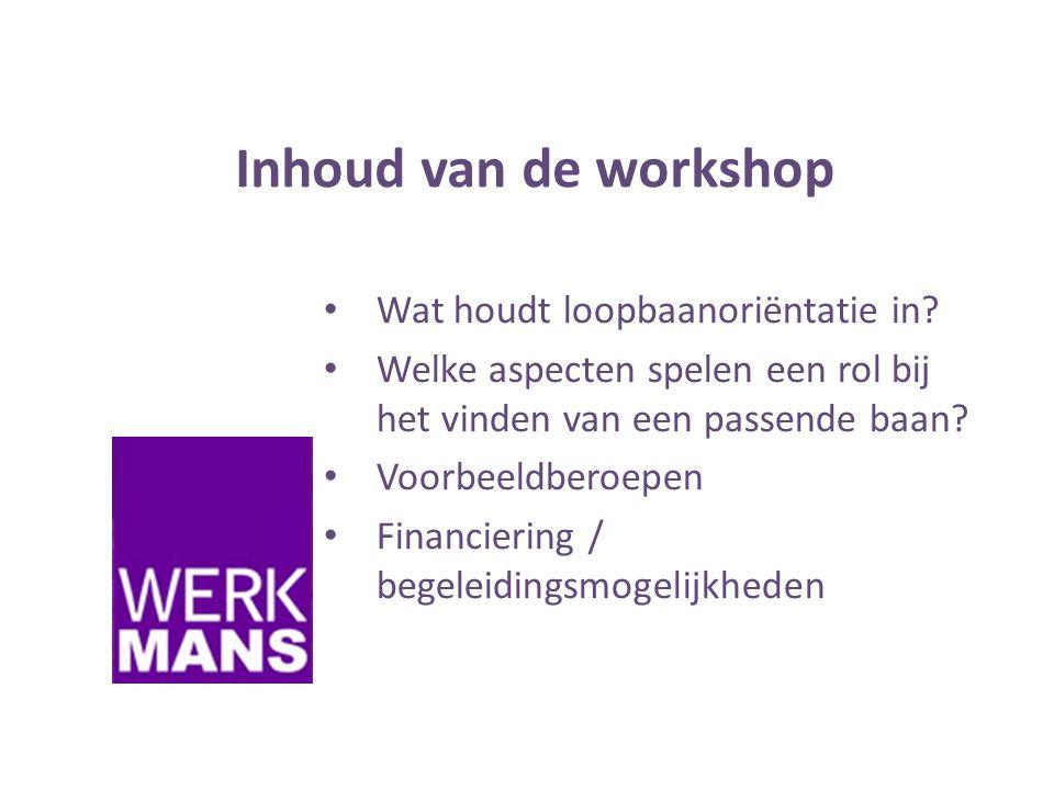 Inhoud van de workshop Wat houdt loopbaanoriëntatie in