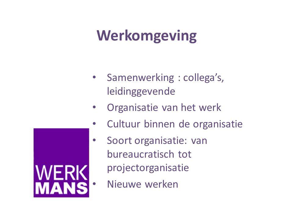 Werkomgeving Samenwerking : collega's, leidinggevende