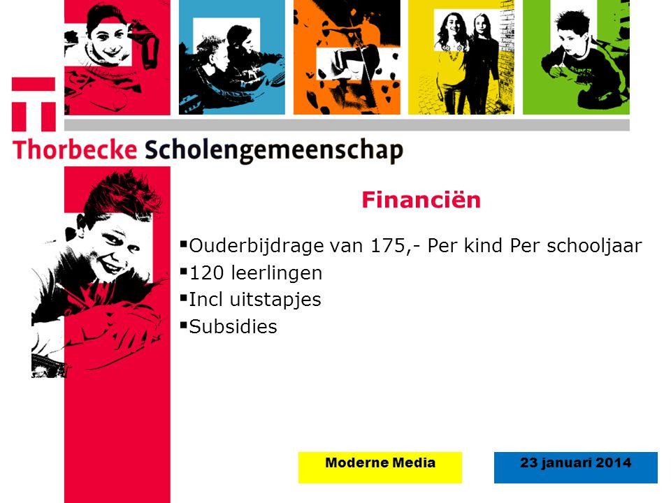 Financiën Ouderbijdrage van 175,- Per kind Per schooljaar
