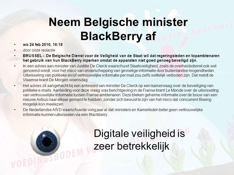 Neem Belgische minister BlackBerry af