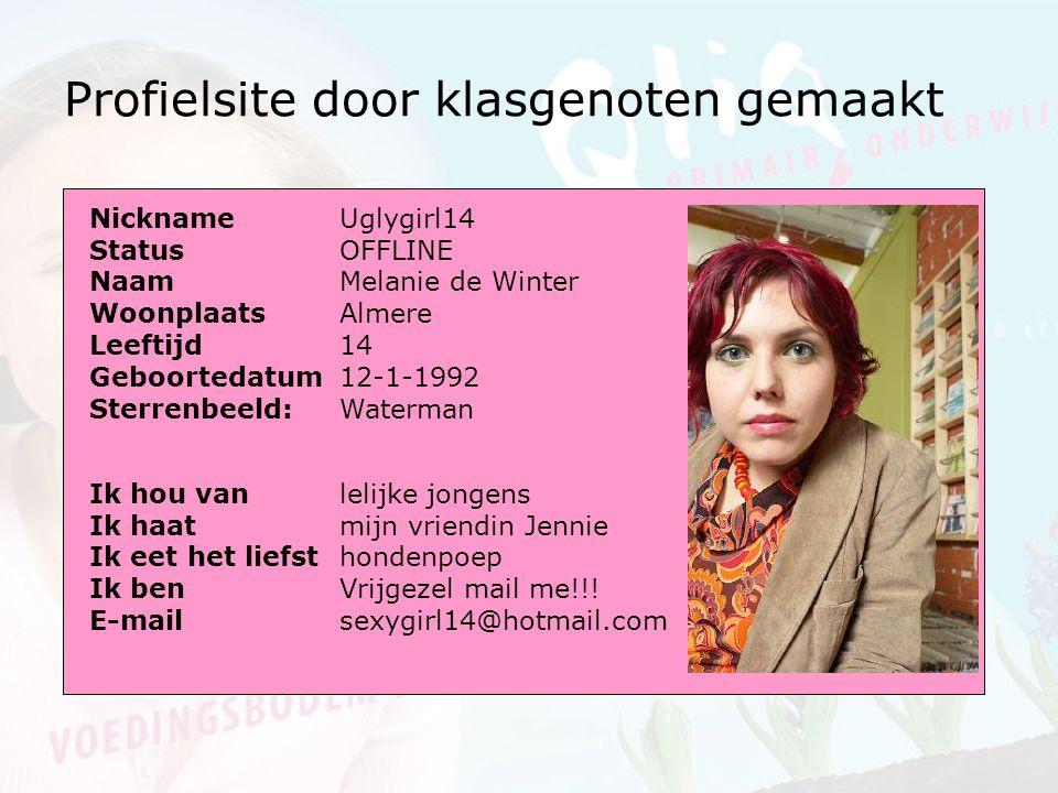 Profielsite door klasgenoten gemaakt