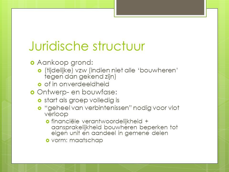 Juridische structuur Aankoop grond: Ontwerp- en bouwfase: