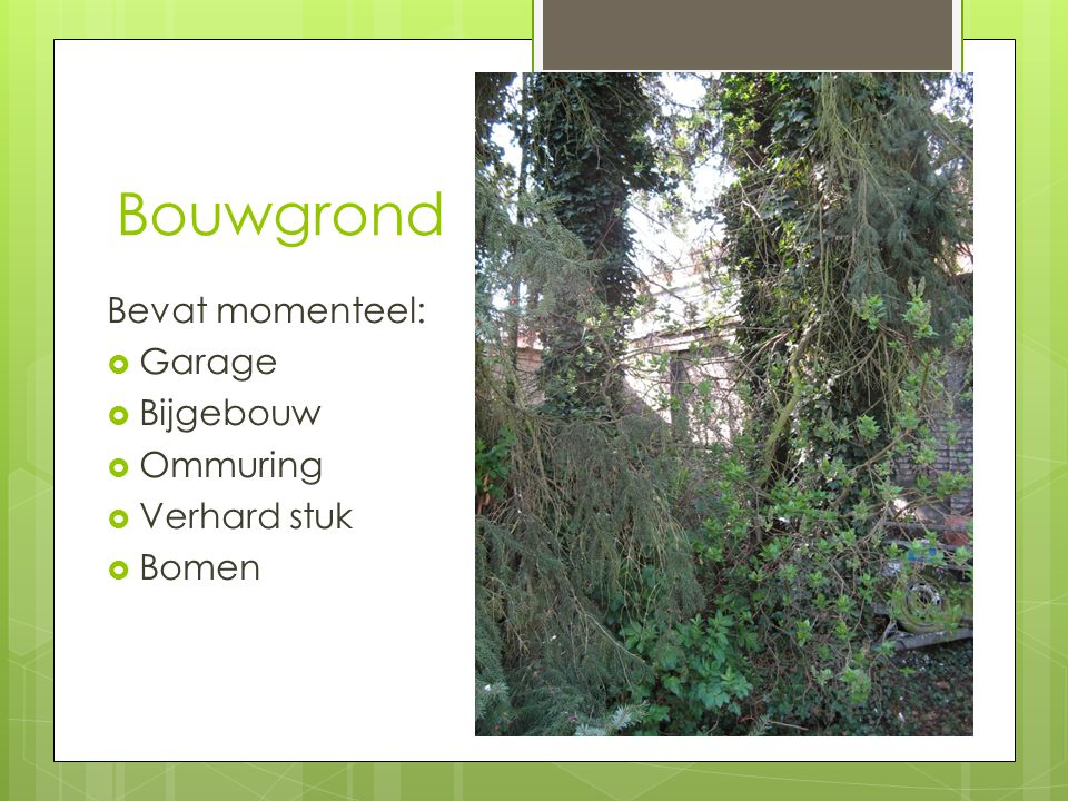Bouwgrond Bevat momenteel: Garage Bijgebouw Ommuring Verhard stuk