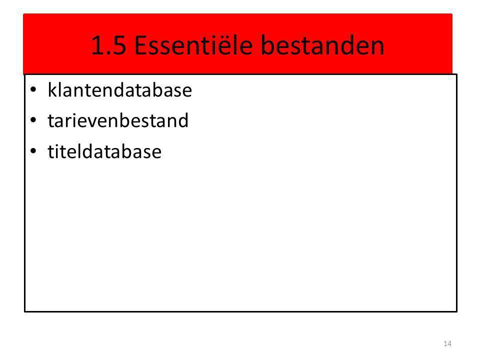 1.5 Essentiële bestanden klantendatabase tarievenbestand titeldatabase