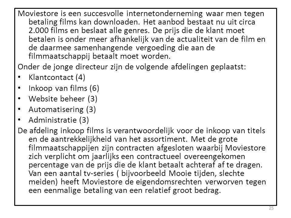 Moviestore is een succesvolle internetonderneming waar men tegen betaling films kan downloaden. Het aanbod bestaat nu uit circa 2.000 films en beslaat alle genres. De prijs die de klant moet betalen is onder meer afhankelijk van de actualiteit van de film en de daarmee samenhangende vergoeding die aan de filmmaatschappij betaalt moet worden.