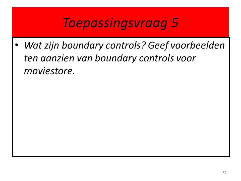 Toepassingsvraag 5 Wat zijn boundary controls.