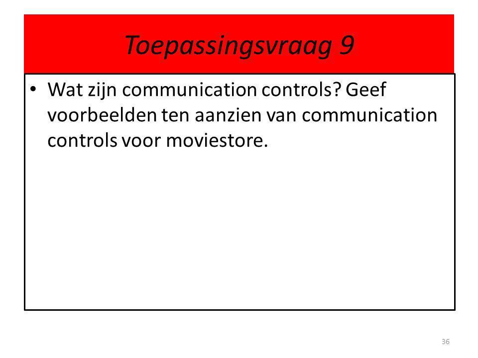 Toepassingsvraag 9 Wat zijn communication controls.
