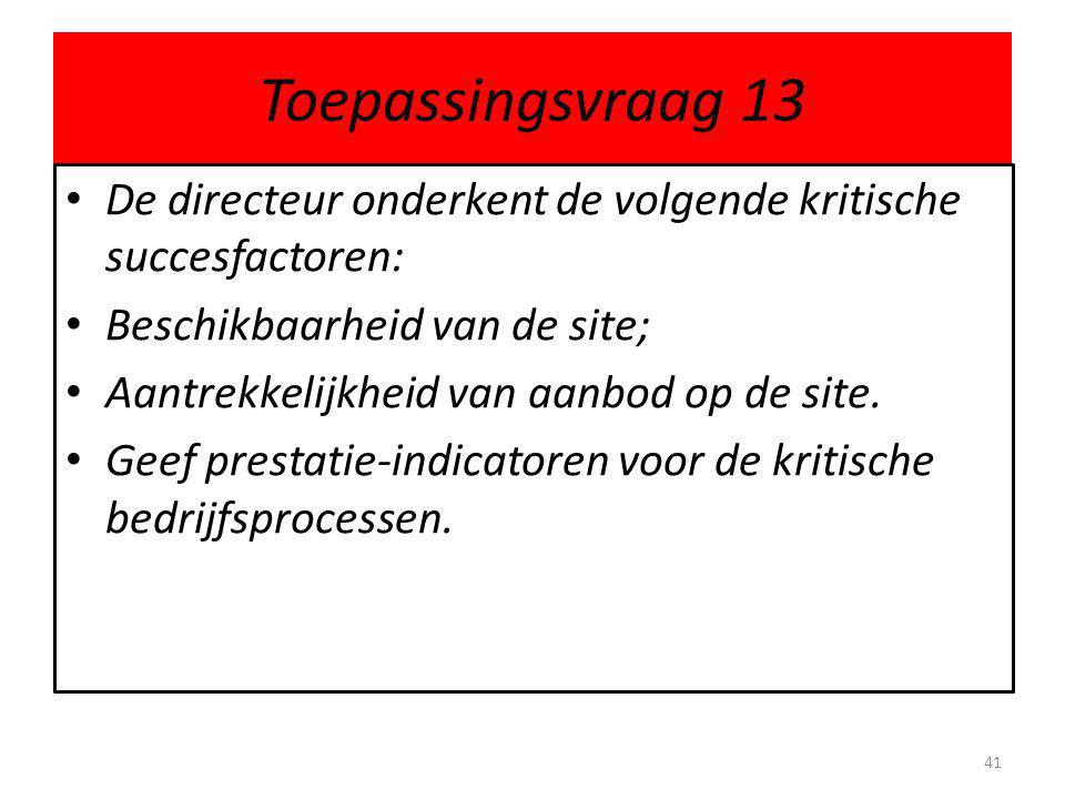 Toepassingsvraag 13 De directeur onderkent de volgende kritische succesfactoren: Beschikbaarheid van de site;