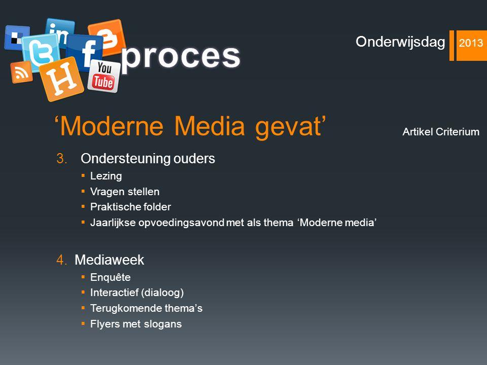 proces 'Moderne Media gevat' Onderwijsdag 2013 Ondersteuning ouders