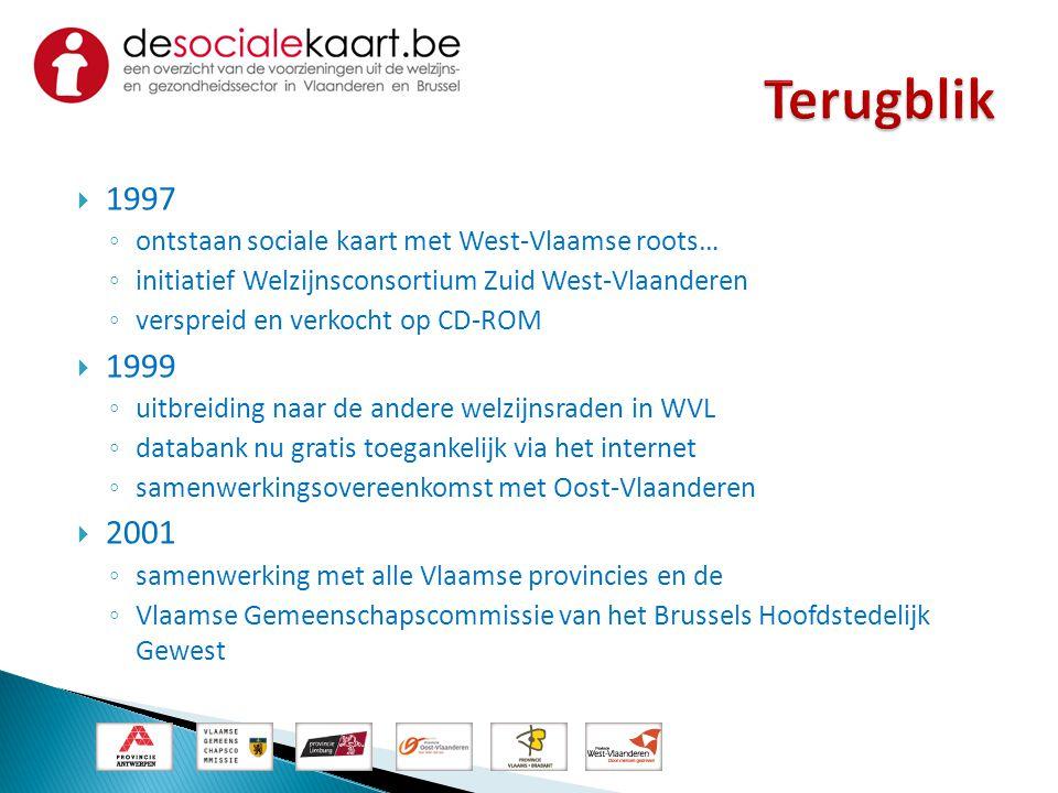 Terugblik 1997. ontstaan sociale kaart met West-Vlaamse roots… initiatief Welzijnsconsortium Zuid West-Vlaanderen.
