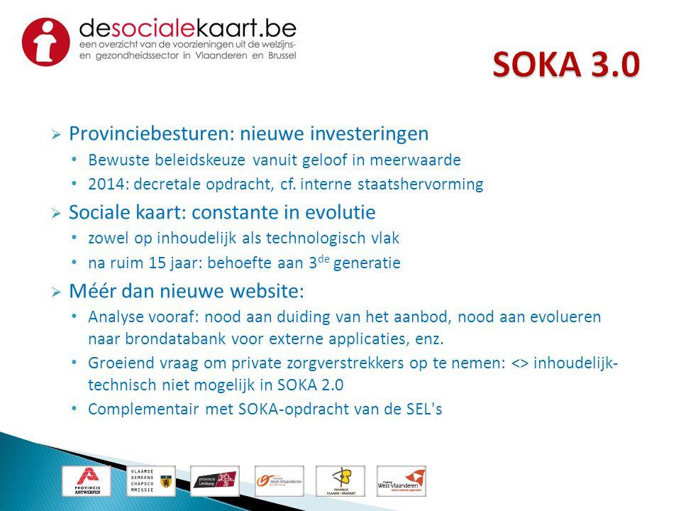 SOKA 3.0 Provinciebesturen: nieuwe investeringen