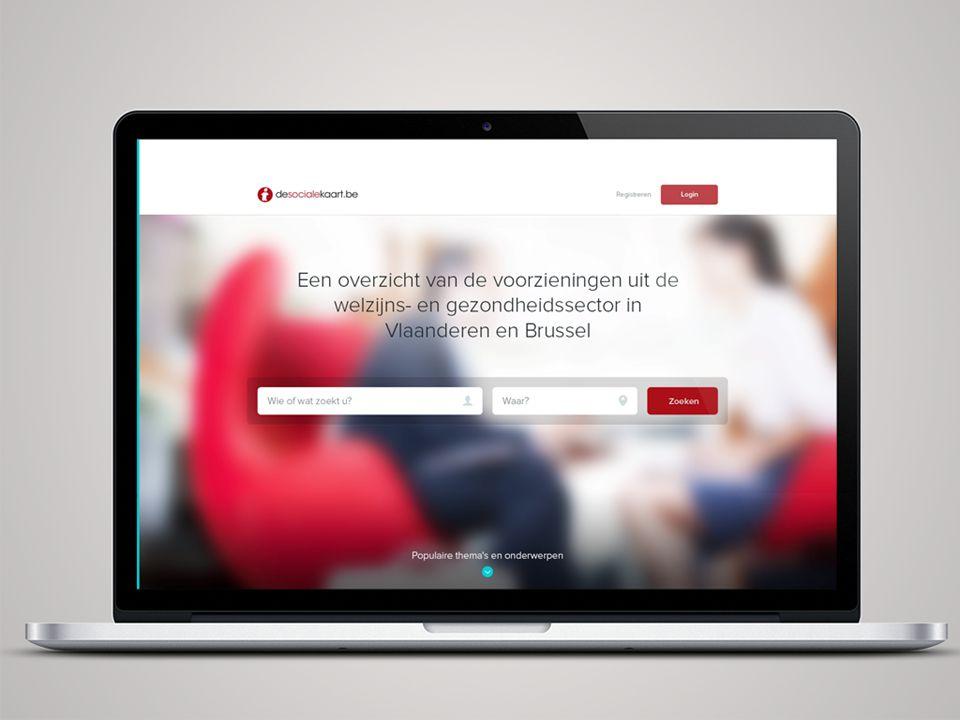 Intro tekst Search staat centraal. Clean header. Mensen op de achtergrond. foto in het rood thema van de sociale kaart.