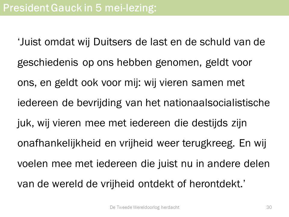 President Gauck in 5 mei-lezing: