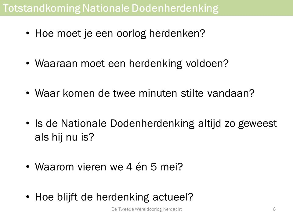 Totstandkoming Nationale Dodenherdenking