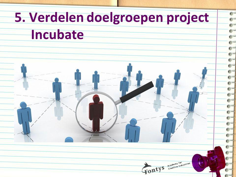 5. Verdelen doelgroepen project Incubate