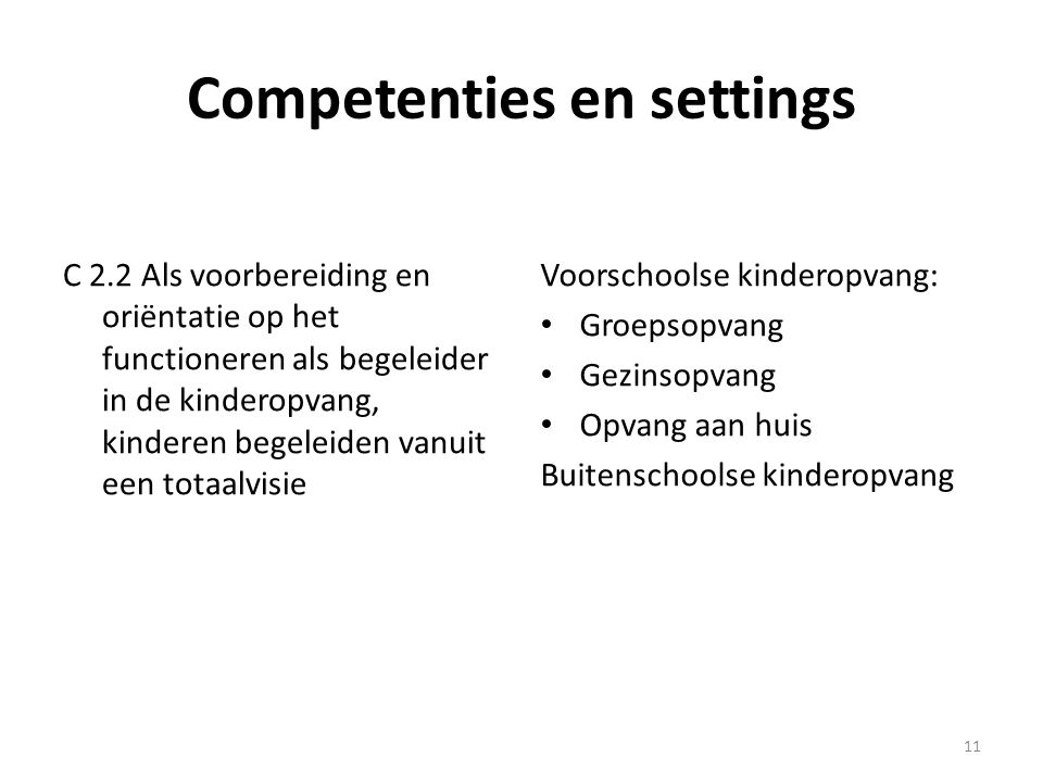 Competenties en settings