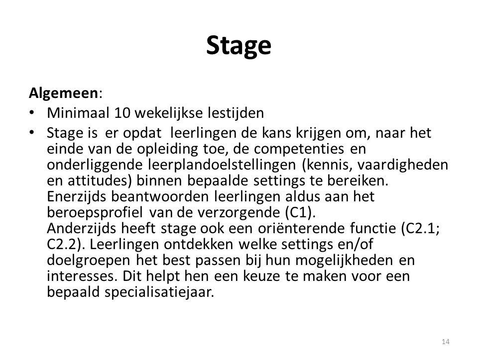 Stage Algemeen: Minimaal 10 wekelijkse lestijden