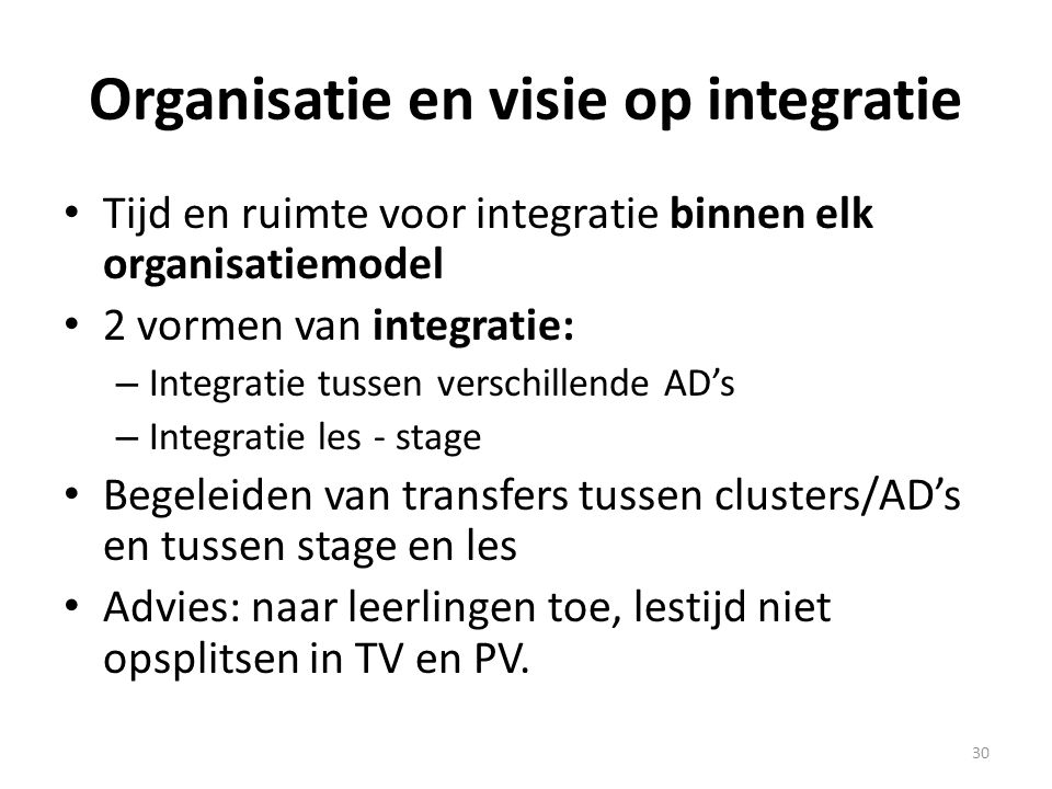 Organisatie en visie op integratie