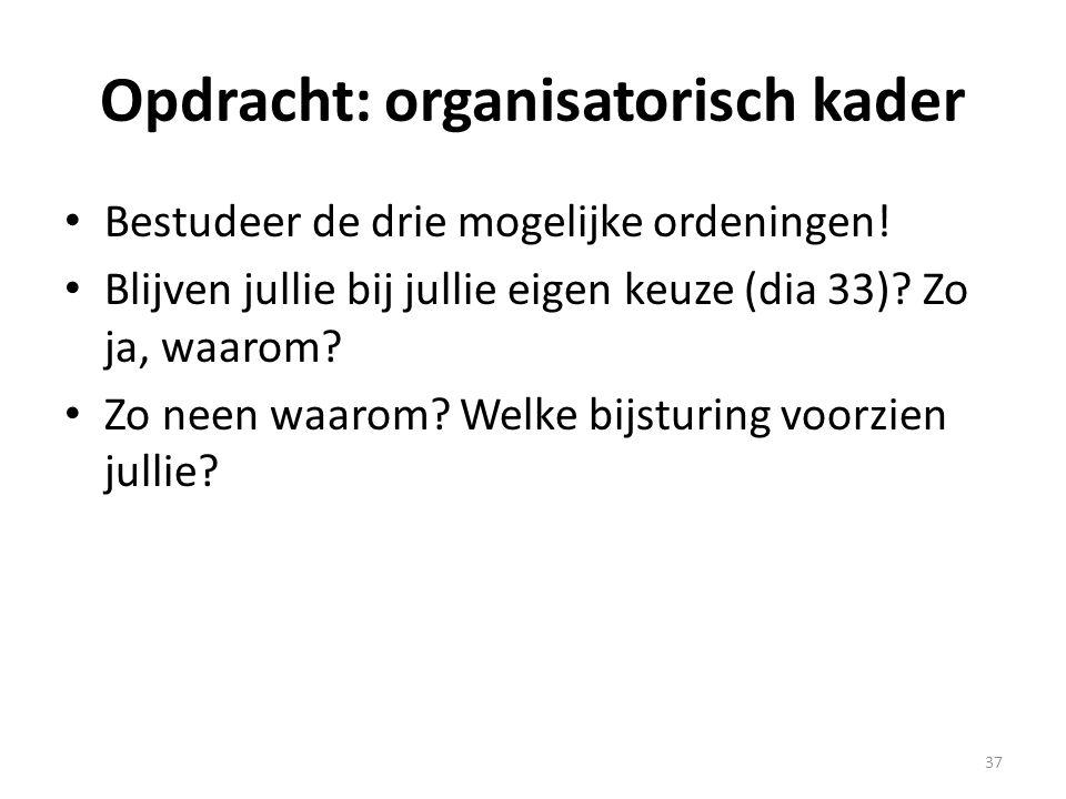 Opdracht: organisatorisch kader
