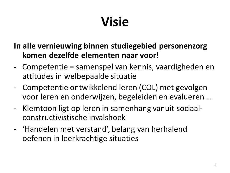 Visie In alle vernieuwing binnen studiegebied personenzorg komen dezelfde elementen naar voor!