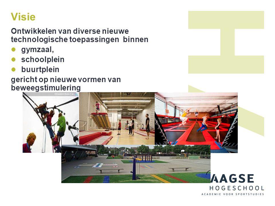 Visie Ontwikkelen van diverse nieuwe technologische toepassingen binnen. gymzaal, schoolplein. buurtplein.