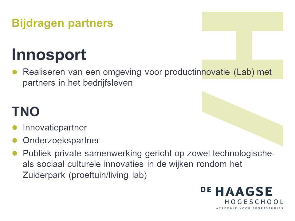 Innosport TNO Bijdragen partners