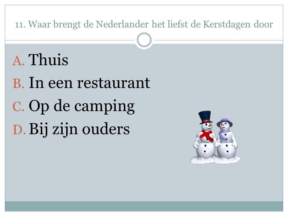 11. Waar brengt de Nederlander het liefst de Kerstdagen door