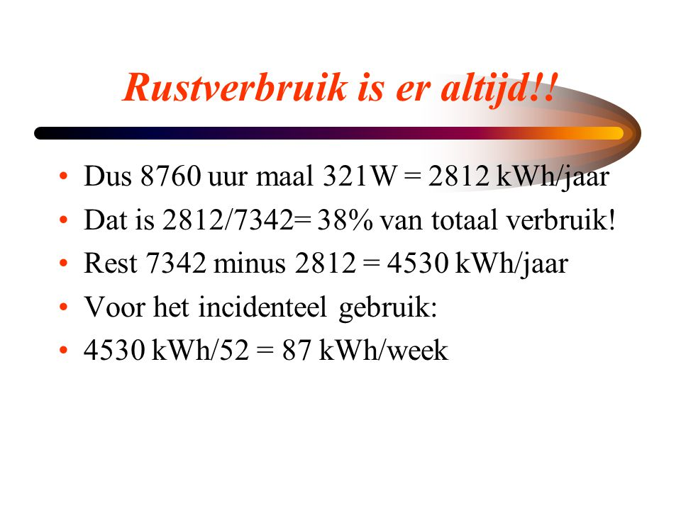 Rustverbruik is er altijd!!