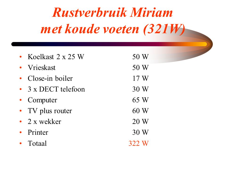 Rustverbruik Miriam met koude voeten (321W)