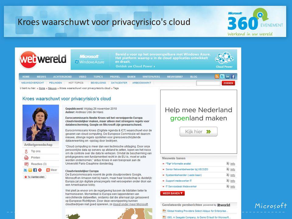 Kroes waarschuwt voor privacyrisico s cloud