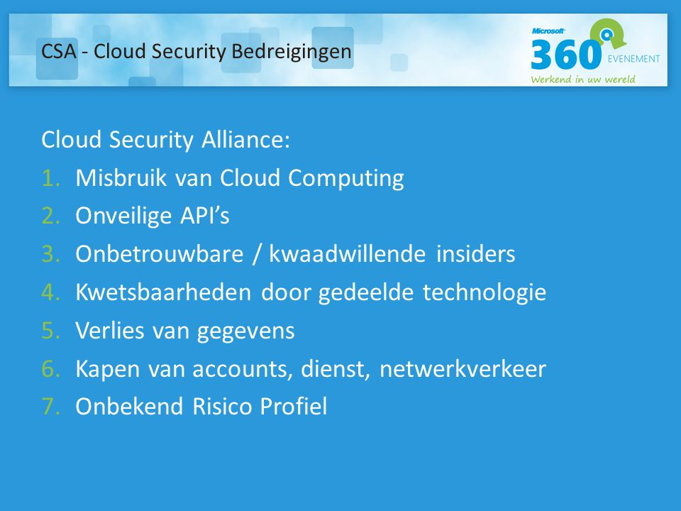 CSA - Cloud Security Bedreigingen